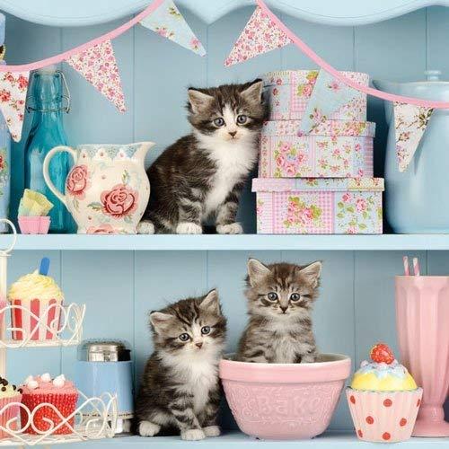 Ambiente Servietten Lunch / Party / Fest ca. 33x33cm Cats In The Kitchen - Katzen in der Küche- Ideal Als Geschenk