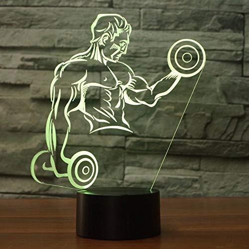 Lucsiky 3D Nachtlicht Illusionslampe-Hanteln Heben-7 Farben Touch Button & Fernbedienung Optische LED Schreibtisch Nachttisch Beleuchtung Spielzeug Kinder Halloween Weihnachten Geburtstagsgeschenk