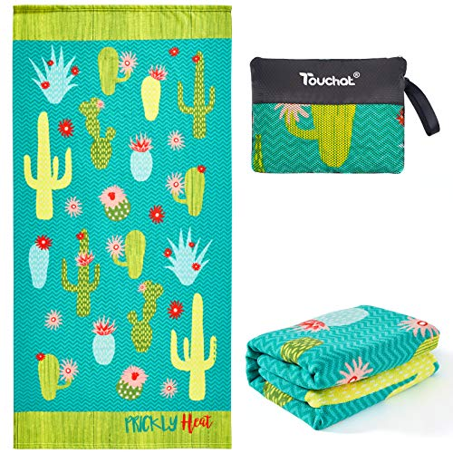 """Touchat Beach Towel Oversized,Thick Microfiber Beach Towel 30""""x60"""",Super Absorbent Sand Free Cute Cactus Cool Swim Beach Towels for..."""