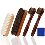 Oudrlim kit de brosses à chaussures de 4 pièces. Contenant brosses à lustrer, 2 pinceaux applicateurs à chaussures et 1 Brosse...