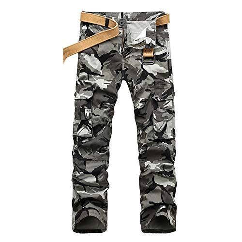 iCKER Herren Cargo Hose Camouflage Pants Camo Trousers Arbeitshose Freizeithose,Camo-Grau,36