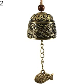 Sanwooden Good Luck Wind Chime Chinese Dragon/Fish Feng Shui Bell Blessing Good Luck Fortune Hanging Wind Chime Homer Decor
