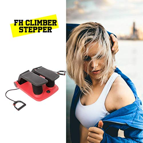 CloverFitness Climber Fitnessgerät Fitnessgerät Gymnastik Maschine Stepper mit Spanner, Erwachsene, Unisex, Rot und Schwarz, Einheitsgröße