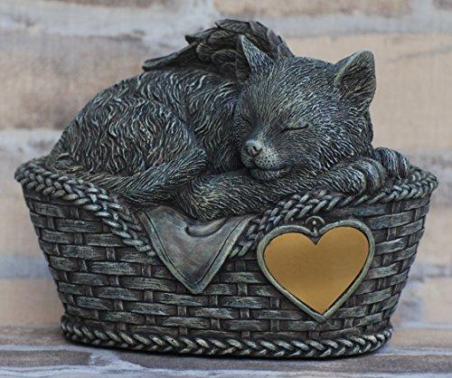 Chat urne gris comme une figure chat-ange et feuille pour graver, Animal urn