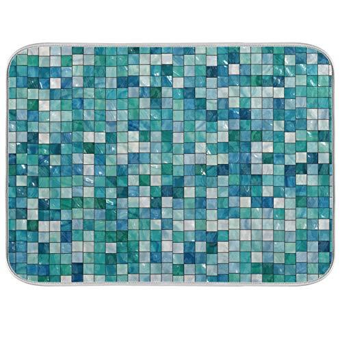 JinDoDo - Alfombrilla de secado de cocina, color azul, verde, cuadrícula, fondo cuadrado, para secar platos y escurrir la encimera de cocina (40,6 x 45,7 cm)