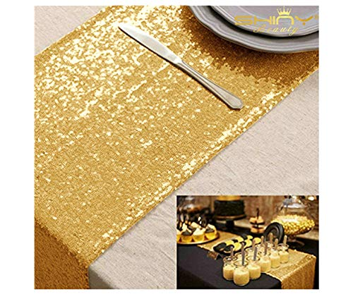 10 Pieces-12 x108 Gold Sequin Table Runner Wedding Party Catering Event