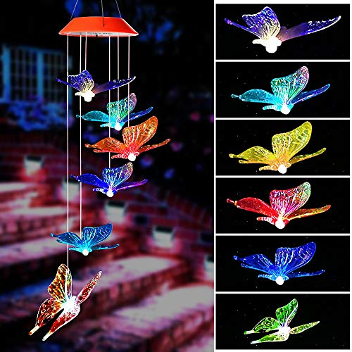 ShangTianFeng Wind Chime,Wind Chimes Outdoor,Gifts for mom, Butterfly Wind Chime,Solar Wind Chimes,mom Gifts,Birthday Gifts for mom,Grandma Gifts,Gardening Gift,Plastic Hangers,Outdoor Decor