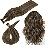 RUNATURE Keratin Bond Human Hair Extensions Real Hair 16 Inch Dark Brown Hair with Dirty Brown Extensions Fusion Human Hair Extensions 40g Prebonded Hair Extensions