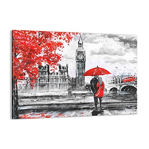 Quadro su tela - Elemento unico - Londra l'architettura il Big Ben - 70x50cm - Pronto da appendere - Home Decor - Stampe su Tela - Quadri Moderni - completamente incorniciato - AA70x50-3153