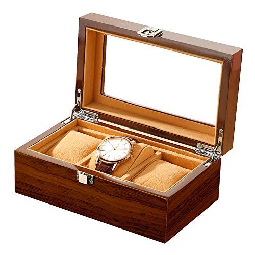 QCSMegy Caja de Reloj de 3 Ranuras, Vitrina de joyería de Madera, Organizador de Reloj con Tapa de Vidrio y Cierre de Bloqueo, marrón