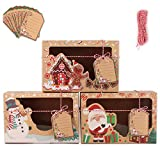 Bolsa de Regalo,12 piezas Cajas de Kraft Bolsas de Papel de Caramelo para Decoración de Navidad Suministros (surtido de 3estilos)