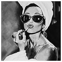 白黒写真アートアウト・ヘプバーンキャンバス絵画ウォールアートポスターとプリント壁画寝室、映画ファンの贈り物、フレームレスのための家の装飾,60x60cm
