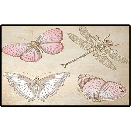 Vintage Bathroom Mats Butterflies Bugs Old Collector Image on Abstract Retro Backdrop Art Low-Profile Rug Mats for Entry, Patio, High Traffic Areas 24x16 Light Pink and Light Grey