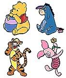 EC Trading Winnie The Pooh Characters 1 Inch Tall Metal Enamel Set of 4 Pins