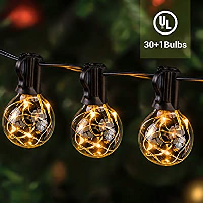 ilikable Outdoor String Lights 38.5FT 30+3Bulbs LED Patio String Light UL Listed - Waterproof G40 Globe String Lights for Backyard Bistro Cafe Balcony Porch Wedding BBQ Party Garden Decoration