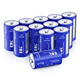 EBL D Batteries, Long Lasting Alkaline D Cell Batteries - Perfect for Daily Use and Business(12 Battery Count)
