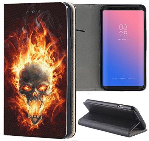 KX-Mobile Samsung Galaxy A51 Hülle - Handyhülle für Samsung Galaxy A51 - Handycover aus Kunstleder Motiv 1095 Totenkopf Skull Feuer Schutzhülle Smart Klapphülle Hülle