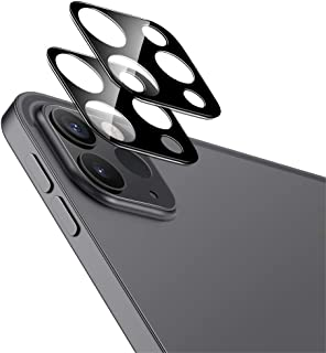 ESR iPad Pro 11 2020 iPad Pro 12.9 2020 カメラフィルム 9H強化ガラス 保護傷に強い 3D全面保護カメラレンズフィルム- ブラック 2枚入り