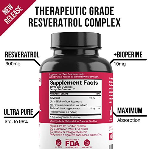 51seiVQgZ6L - New Ultra Therapeutic Resveratrol Supplement - 98% Trans Resveratrol Plus BioPerine - Antioxidant Supplement for Anti Aging and Longevity - 60 Capsule Reservatrol Supplement