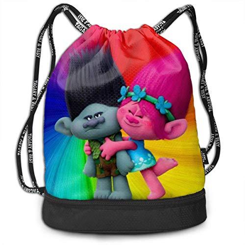Trolls Bundle Mochila con cordón para Gimnasio Sports String Bag School Yoga Kids Mochilas de Viaje para Hombres y Mujeres