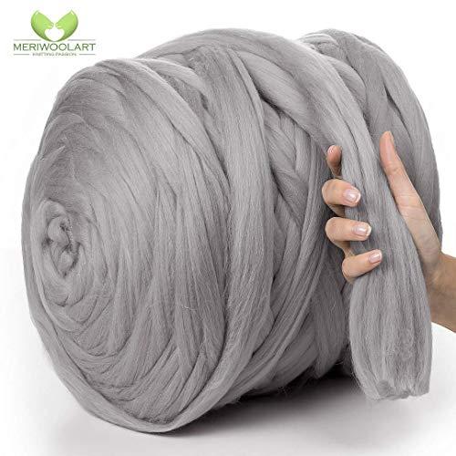 MeriWoolArt 100% Merinowolle zum Stricken & Häkeln mit 4-5 cm dickem Garn | Dicke Merino Wolle für XXL Schal, Decke & Kissen (Hellgrau, 4,5Kg Knäuel)