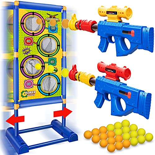 Moving Shooting Games Toy for Age 5 6 7 8 9 10 and Up Years Old Boys, 24 Foam Balls & 2pk Foam Ball Popper Air Toy Guns with Electronic Running Standing Shooting Target, Ideal Gifts Indoor Outdoor Toy
