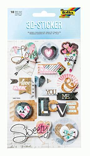 folia 19901 - Lote de 10 pegatinas tridimensionales de papel, ideales para decorar tarjetas, manualidades y álbumes de recortes