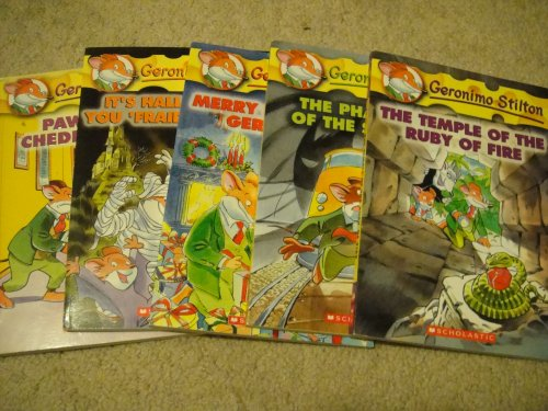 Geronimo Stilton 5 Book Set (Book #6, 11, 12, 13, 14): Paws off, Cheddarface!, It's Halloween, You 'Fraidy Mouse!, Merry Christmas, Geronimo!, The Phantom of the Subway, The Temple of the Ruby of Fire[Papaerback]