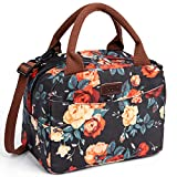 Lunch Bag for Women,Kaome Floral Lunch Bag with Shoulder Strap, Durable Leakproof Picnic Box, Fashion Lunch Bag for...
