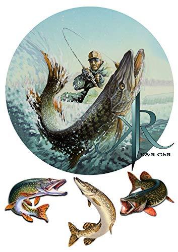 Fishing, Angler, Fisch,Haken. №2 Tortenaufleger,Geburtstag,Tortendeko,