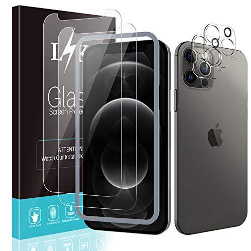 LϟK 4 Stück Schutzfolie Kompatibel mit iPhone 12 Pro 5G 6.1Zoll mit 2 Stück Schutzfolie + 2 Stück Kamera Schutzfolie 3 Löcher - Bubble Free 9H Festigkeit HD Klar Folie Glas Bildschirmschutzfolie