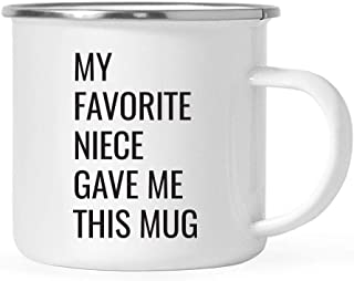 Andaz Press 11oz. Stainless Steel Funny Campfire Coffee Mug Gag Gift, My Favorite Niece Gave Me This Mug, 1-Pack, Aunt Uncle Birthday Christmas Sarcastic Humor Metal Camping Cup Gift Ideas