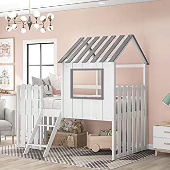 Twin Loft House Bed for Kids Wooden Loft Beds with Rustic Fence-Shaped Guardrail/Ladder/Window/Roof for Teens Boys & Girls Bedroom  White-Loft House Bed