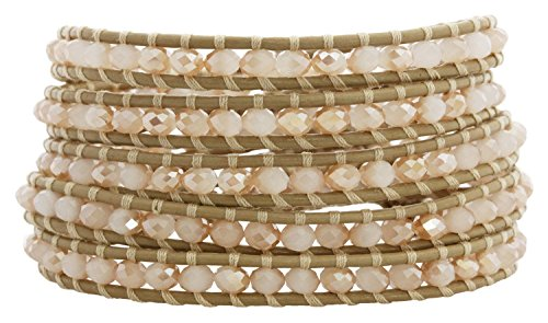 Chan Luu Crystal Champagne Crystal Petal Leather Wrap Bracelet bs-3469