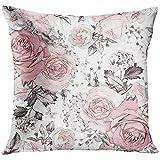 yanyuz Dekokissen Abdeckung grau abstrakt mit rosa Blüten und Blättern auf weißem Aquarell...