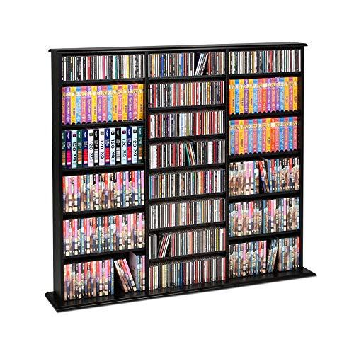 - Prepac Black Triple-Width Wall Media Storage Rack