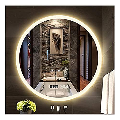 YSJX 50cm Espejo de Pared Redondo Espejo de Baño con Iluminación LED Función Anti-Niebla para Dormitorio Maquillaje Espejo de Luz con Reloj Digital,60cm,70cm