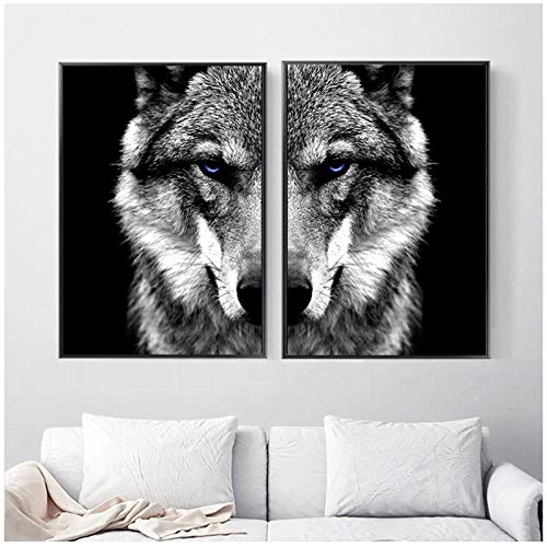 Zhaoyangeng Imagen De Arte De Pared Cabeza De Lobo Animal Poster Nordic Style Black White Canvas Print Painting Modern Home Room Decoration- 50X75Cmx2 Sin Marco