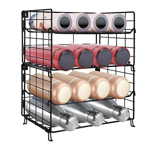 G-TING Water Bottle Organizer 4-Tier Wall-Mounted Water Bottle Rack Storage Organizer Adjustable Stackable Vertical Standing Water Bottle Holder Stand for Kitchen Countertop Cabinet Pantry