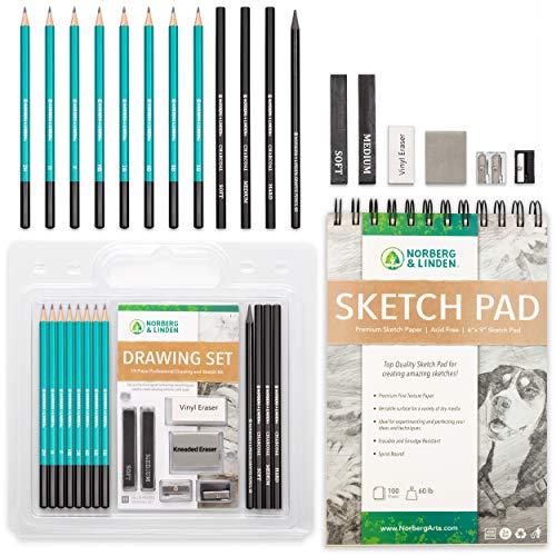 Norberg & Linden Drawing Set - Sketching and Charcoal Pencils - 100 Page Drawing Pad, Kneaded Eraser. Art Kit and Supplies for Kids, Teens and Adults, Sketch Set