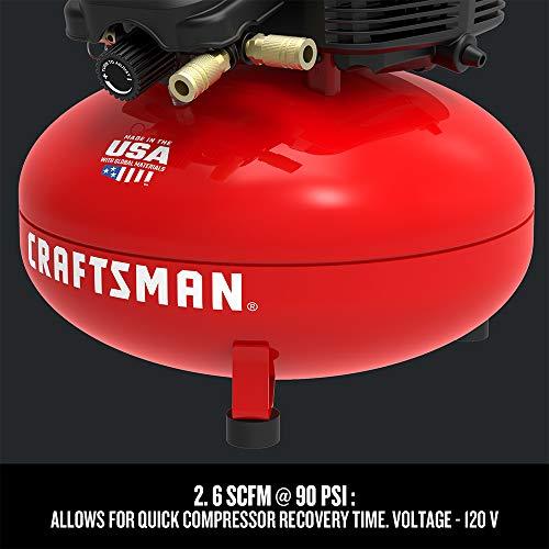 CRAFTSMAN Air Compressor, 6 Gallon, Pancake, Oil-Free with 13 Piece Accessory Kit (CMEC6150K)