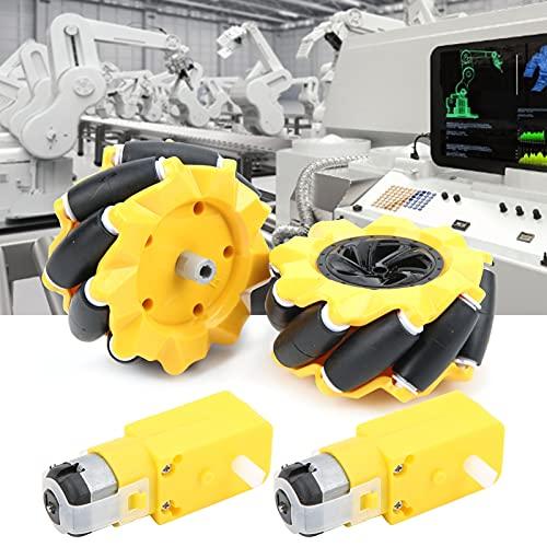 Surebuy Rueda Robot Mecanum, Motorreductor Material de Goma Ligero para Robot pequeño de Coche Inteligente DIY