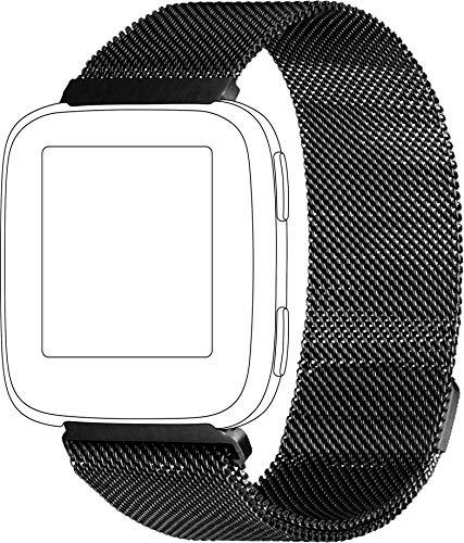 Topp - armband voor Fitbit Versa, mesh, zwart
