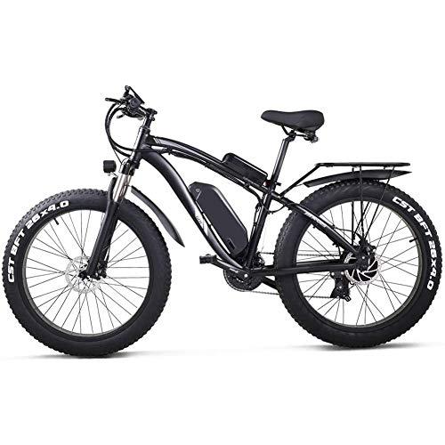 LIMQ Adult Electric Bike 26 Inch Fat Tire Electric Bike 1000W 48V 17AH Beach Cruiser Pedal Assist Mountain E-Bike,Black