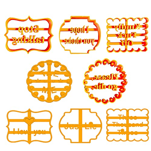 8Pcs Cookie Molds with Good Wishes,Cookie Molds with Rude Sayings Cuss Words, Funny Cookie Molds, Good Wishes Cookie Cutters,Used for DIY Baking Cake Biscuit Desserts