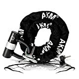 AKM Security Bike Chain Lock Cut Proof Heavy Duty Bicycle Lock with 16mm U Lock,4-Feet Motorbike Lock Black