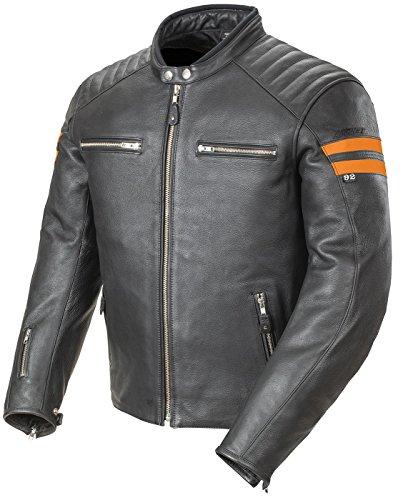 Joe Rocket Classic 92' Men's Leather Jacket (Black/Orange, X-Large)