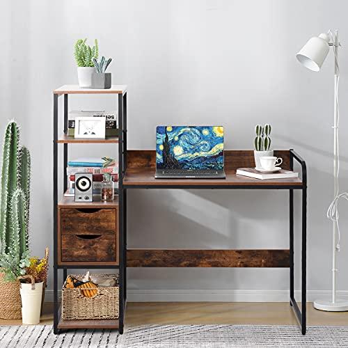 adawd Escritorio con estante, 2 cajones, mesa de trabajo, mesa de oficina de estilo industrial, gran superficie de tablero DM y marco de metal negro, para el hogar, la oficina
