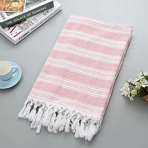WLQCPD Handdoek,Gestreepte badhanddoek 100% katoen Sandy Coast-handdoeken Outdoor-picknickhanddoeken Hotel Travel Tippet Zomer Dames Jurken Mock, roze, 100x180cm