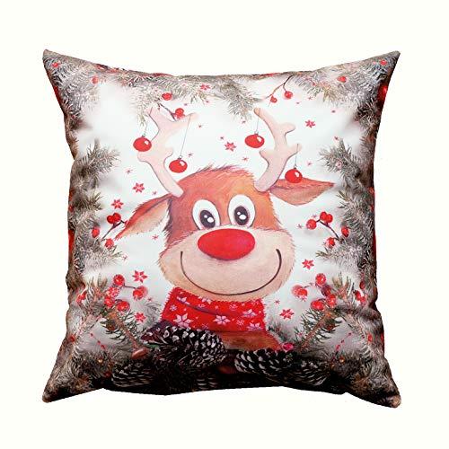 Kamaca Serie Elch mit roter Nase hochwertiges Druck-Motiv mit lustigen Elchen Eyecatcher in Winter Weihnachten (Kissenhülle 40x40 cm)